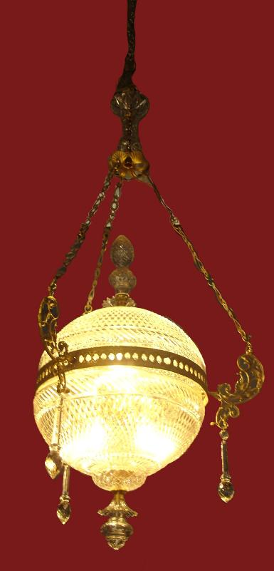Hanging lamp material is brass with cut glass Code.AT22 size dimension 35 cm long 90 cm.