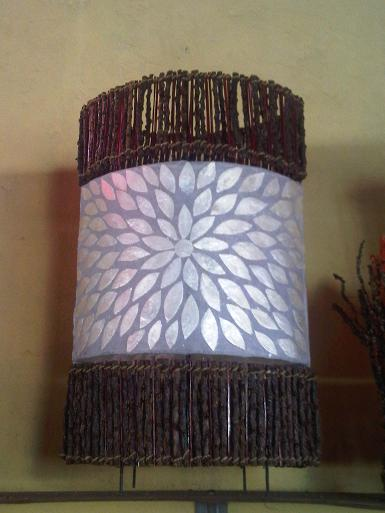 Mosaic Shell Lamp with bamboo size high 50cm
