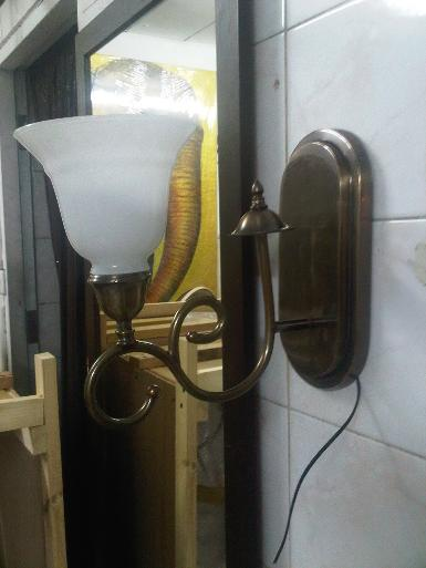 Brass Wall Lamp Item code WL200A  Brass with glass size base 25.5x 12.5 cm.deep 24 cm.